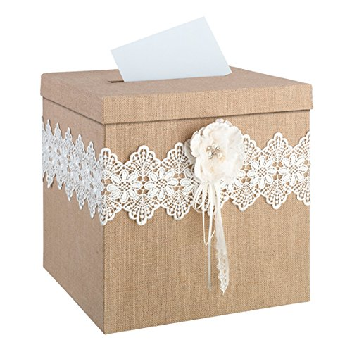 Lillian Rose Rustic Country Burlap Lace Wedding Card Box For Sale