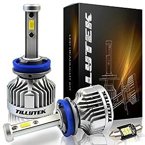 TILLYTEK LED Headlight Bulb Kit Conversion 6000K Cool White 8000LM Upgrade Automotive Car Lighting from Stock Halogen HID (H11 (H8/H9), Standard Kit)