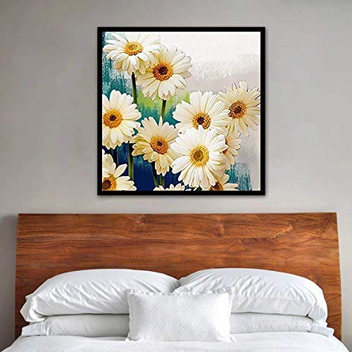 - 5D Daisy DIY Diamond Painting by Number Full Drill Cross Stitch White Daisies Floral Crystal Needlework Diamond Flower Home Decor Wall Art Home Craft