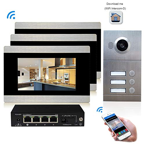 (7 Inch Color LCD Touch Screen,WiFi IP Video Door Phone Doorbell Intercom Entry System Kit,3-Monitor 1-Camera for Apartments, Night Vision,Support Recording/Snapshot)