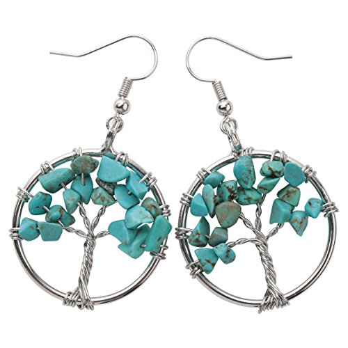 YACQ Natural Gemstone Tree Dangle Drop Earrings Handcrafted Jewelry for Women (turquoise) - Turquoise Dangle Earrings Set