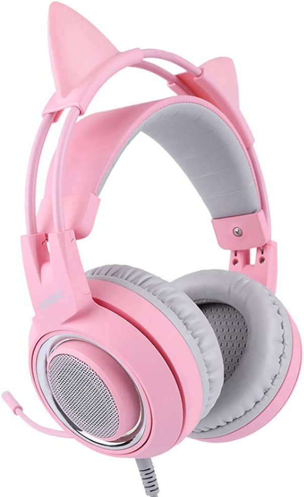 Pink Stereo Gaming Headset with Mic for Desktop Computer, Laptop, Phone, Various Gaming Devices, 3.5mm Plug Detachable Cat Ear Headphones Over Ear Headphones for Girls Women