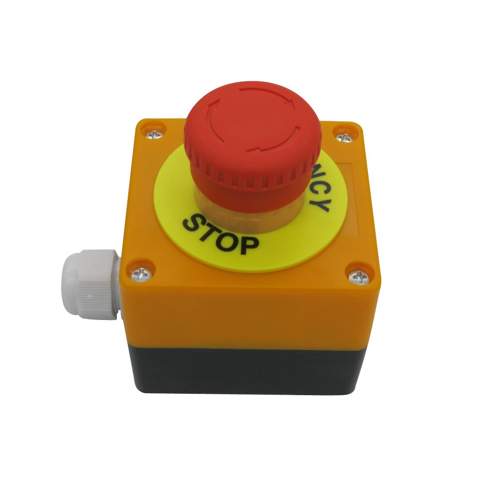 TWTADE/Red Lamp Self Locking Emergency Stop Mushroom Switch Push Button Station 660V 10A Stop Switch box(Quality assurance for 3 years)