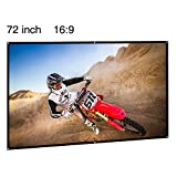 EUG Portable Projection Screen 72 inch 16:9 Projector Screen Foldable Wall/Ceiling Mount Screen for Home Theater/Office/Outdoor Camp