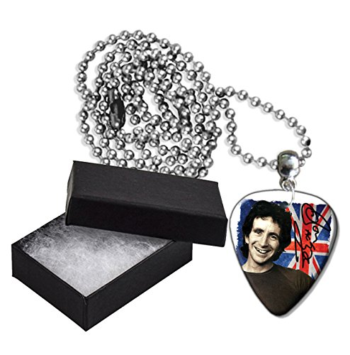 Bon Scott Acdc Flag Metal Guitar Pick Necklace Ball Chain Collier Médiator