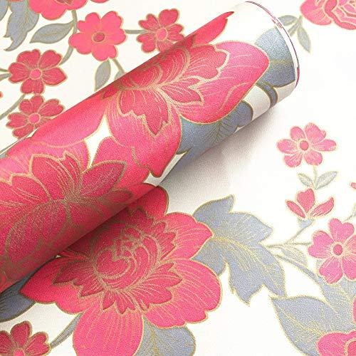 BESTERY Retro Style Red Floral Adhesive Paper Home Deco Wallpaper Shelf Liner Peel & Stick Dresser Drawer Sticker 17.7inch by 100inch (Red)