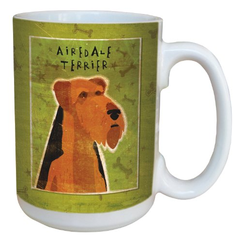 Airedale Terrier Mug (Tree-Free Greetings sg43977 Airedale Terrier by John W. Golden Ceramic Mug with Full-Sized Handle, 15-Ounce)