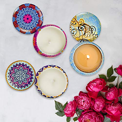 4 Pack Scented Candles Gifts Set for Women, 4.4 oz Soy Wax Portable Travel & Home Tin Jar Candles with Essential Oils…