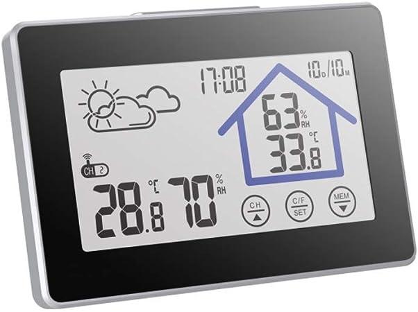 Higr/ómetro Term/ómetro Digital con Pantalla LCD Color Monitor de Temperatura y Humedad para el Hogar y la Oficina Estaci/ón Meteorol/ógica con Sensor Inal/ámbrica para Interior Exterior