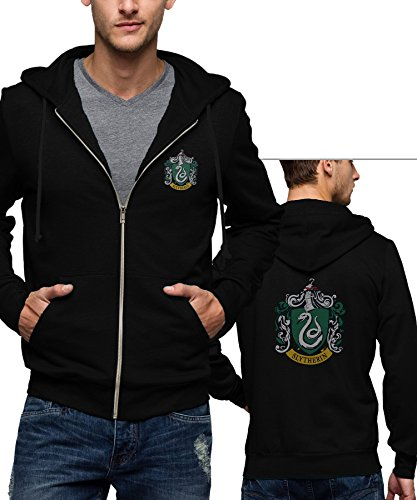 Superhero Costume Zip Hoodie Collection - Premium Quality - For Cosplay and Halloween Parties (S, Black - Slytherin Logo Zipper) (Halloween Party Logo)