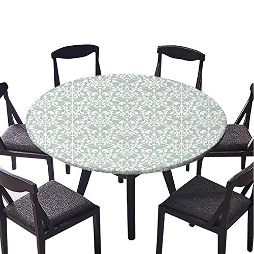 SATVSHOP Round Tablecloth-30 Round-Stain Resistant, Washable, Liquid Spills Bead up,Damask Victorian Baroque Curved Leav Pattern ococo Style Feminine Kitsch Almond Green White.(Elastic Edge)