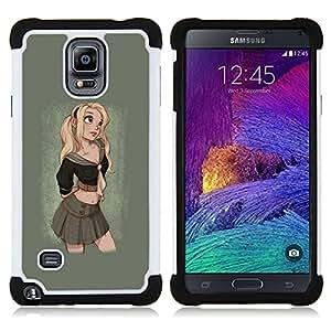"""Samsung Galaxy Note 4 IV / SM-N910 - 3 en 1 impreso colorido de Altas Prestaciones PC Funda chaqueta Negro cubierta gel silicona suave (Rubio Cute Girl Sexy colegiala de la falda"""")"""