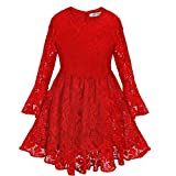 Best FEESHOW Sweet Kids Pageant Dresses - FEESHOW Child Girls Long Sleeve Lace Flower Christmas Review