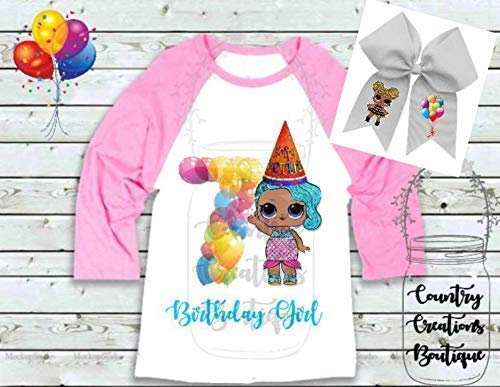LOL Doll Birthday Shirt and Hair Bow, Any Age 1 2 3 4 5 6 7 8 9 Birthday Party Shirt, LOL Dolls Raglan Shirts