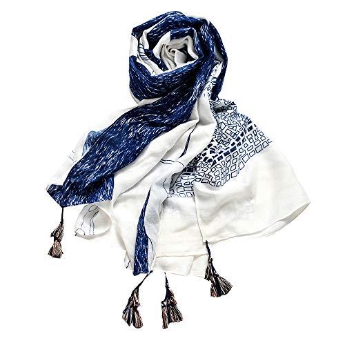Egmy Gift for Friends Women Print Casual Scarf Long Shawl Gauze Holiday Silk Towel Beach Towel Scarf (H) -