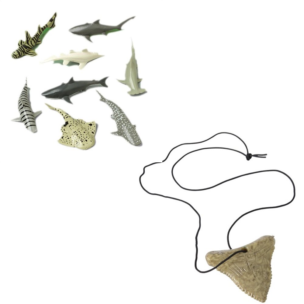 Shark Toy Party Favor Supplies Set for 12 Bundle 24 Pieces Tooth Necklaces Figures
