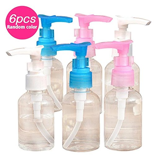 Brendacosmetic Pack of 6-50Ml Longh Mouth Pump Bottle Empty Cosmetics Bottle Travel bottle-50Ml for Bottling Emulsion,Shampoo or Body Wash (Randomly Color)