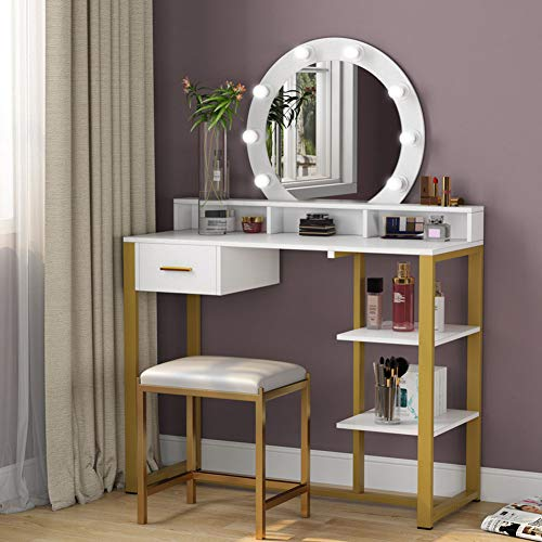 Cheap Tribesigns Gold Vanity Table with Lighted Mirror and Drawer, Makeup Vanity Dressing Table with...