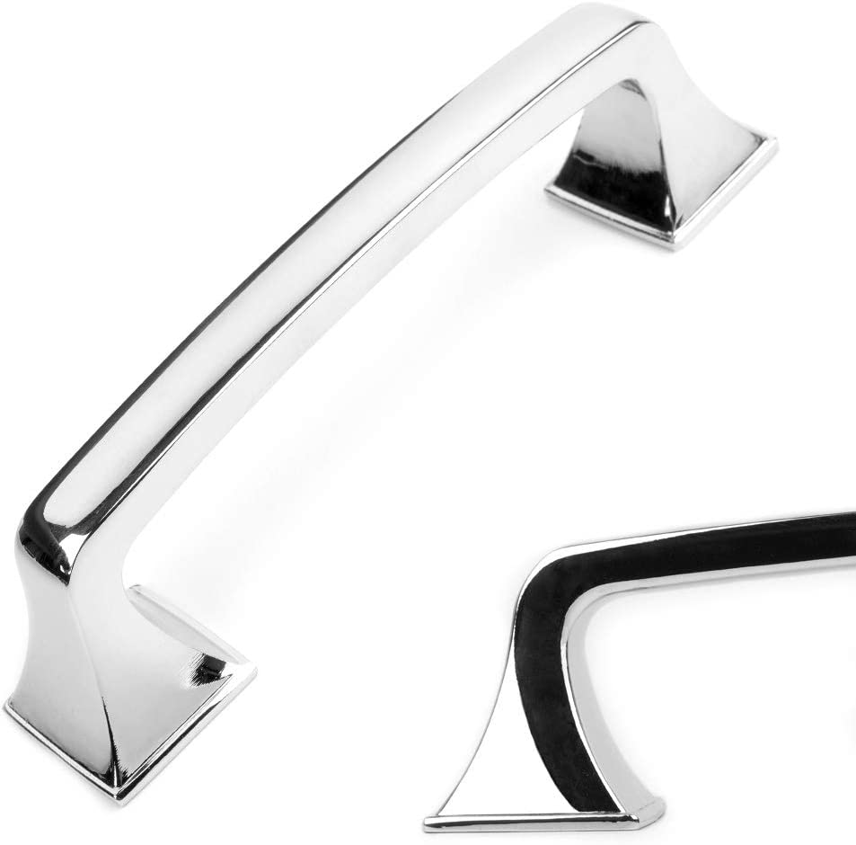 Koofizo Big Square Foot Cabinet Arch Pull - Chrome Furniture Handle, 3.8 Inch/96mm Screw Spacing, 10-Pack for Kitchen Cupboard Door, Bedroom Dresser Drawer, Bathroom Wardrobe Hardware