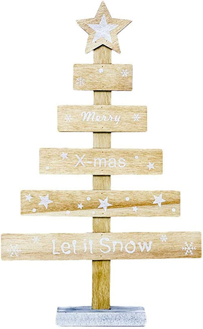 Árbol de Navidad de Madera Adornos de Mesa Feliz Fiesta de Navidad Decoracion