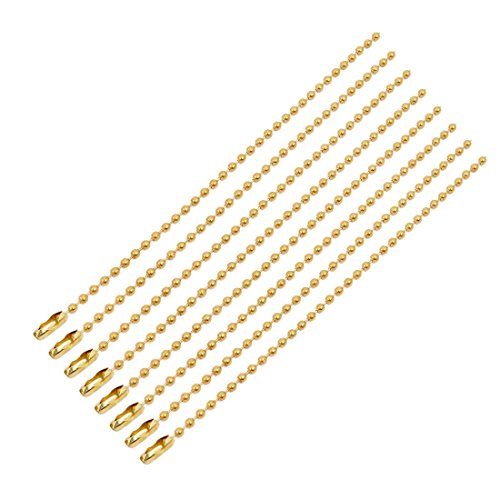 uxcell 8Pcs 2.4mm Diameter Copper Beaded Connector Ball Key Chain Gold Tone 15cm ()