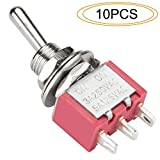 DIYhz Toggle Switch AC 5A/125V 3A/250V 3 Pin Terminals On/On 2 Position DPDT Toggle Switch Mini Miniature Toggle Switch Car Dash Dashboard,10Pcs