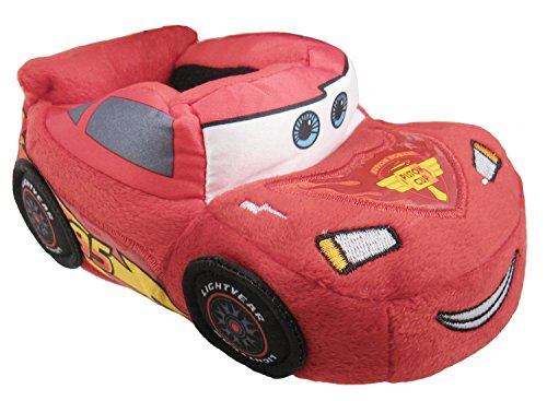 Disney Cars Embroidered Lightning McQueen Little Boys Slippers (Large Size 9-10 US Toddler)