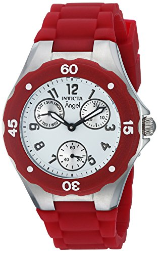 Invicta Women's 'Angel' Quartz Stainless Steel and Leather Casual Watch, Color:red (Model: 0701)