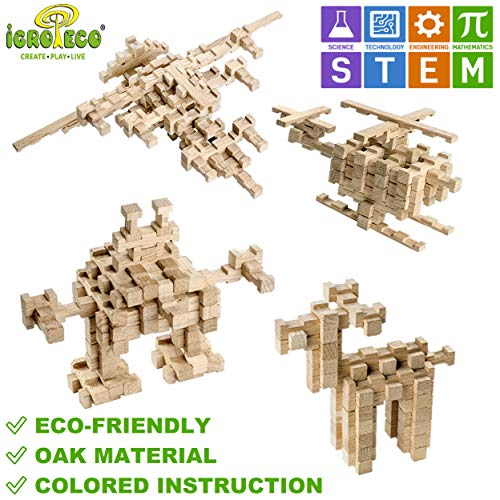 Wooden Building Blocks for Kids - Natural Sensory Toys for Autistic Children - 120 PCS - STEM Toys Building Logs for Girls & Boys ()