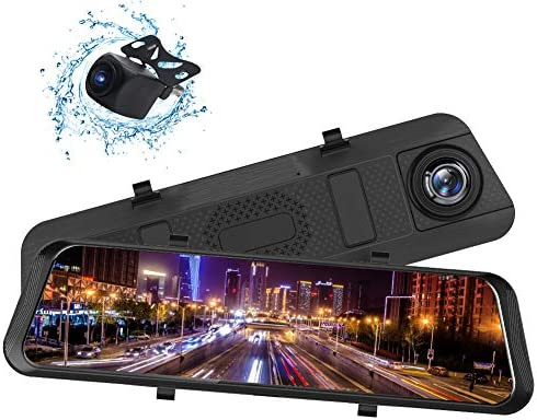 BENEWEAR Backup Camera 9.66 Mirror Dash Cam Touch Screen 1080P Rearview Front and Rear Dual Lens with Waterproof Reversing Camera