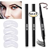 Image of 3 Colors Eyebrow Pencil Set Waterproof Drawing Automatic Eye Brow Long Lasting Sweat Proof Brown Black Grey 4 Eyebrow Stencils
