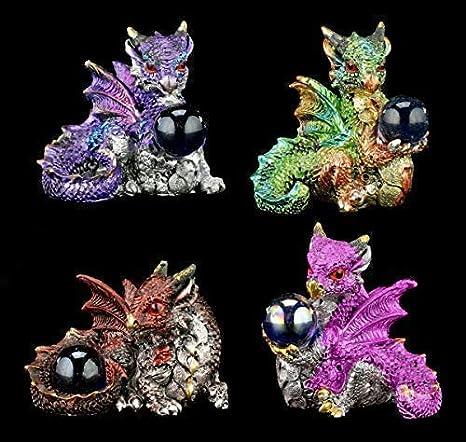 Kleine Drachen Figuren 4er Set Fantasy Gothic Deko