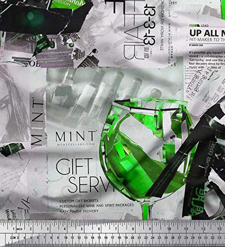 Heel High News - Soimoi Green Japan Crepe Satin Fabric News Paper,Wine Glass & High Heels Fashion Print Sewing Fabric BTY 42 Inch Wide
