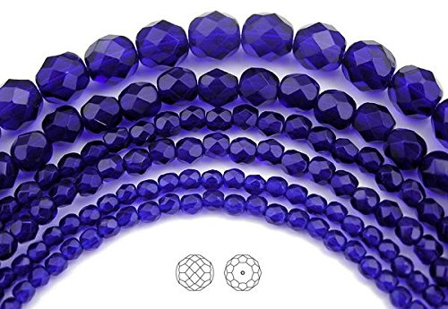 6mm (204 beads) Cobalt Blue, Czech Fire Polished Round Faceted Glass Beads, 3x16 inch strand