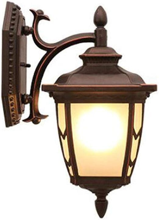Lámparas de pared Retro E27 Aplique Exterior Lámpara de aluminio y vidrio Pantalla exterior impermeable Lámpara de jardín para Terraza Puerta de entrada Entrada Linterna de pared,Down Install: Amazon.es: Iluminación