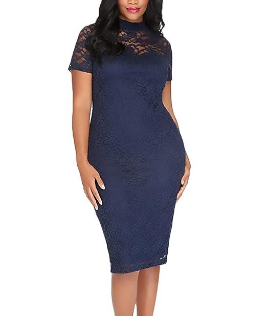 premium selection f9e5a d7606 HX fashion Vestiti Donna Eleganti al Ginocchio Pizzo Tubino ...