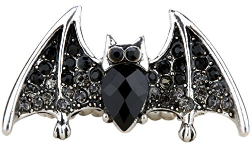 Womens Ring Edwardian - Hiddlston Adjustable Gothic Large Bat Stretch Rings Costume Black Halloween Jewelry for Women (Black)