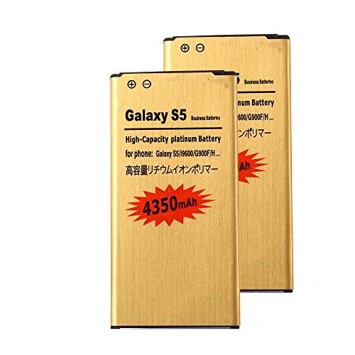 2 pcs Gold Extended Samsung Galaxy S5 High Capacity Battery EB-BG900BBC EB-BG900BBE EB-BG900BBU For Samsung Galaxy S5 SM-G900F / Samsung Galaxy S5 SM-G900T / Samsung Galaxy S5 SM-G900P / Samsung Galaxy S5 SM-G900A / Samsung Galaxy S5 SM-G900AZ / Samsung Galaxy S5 SM-G900T1 / Samsung Galaxy S5 SM-G900R6 / Samsung Galaxy S5 SM-G900V / Samsung Galaxy S5 Active SM-G870A 4350 mAh