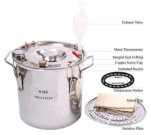 New 3 Pots DIY 3 Gal 12 Litres Alcohol Moonshine Ethanol Still Spirits Stainless Steel Boiler Water Distiller Whiskey Wine Making Kit by WMN_TRULYSTEP (Image #2)