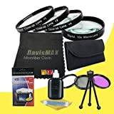 49mm Macro Close Up Kit + 3 Piece Filter Kit for Sony A5000 with Sony 18-55mm f/3.5-5.8 SEL Zoom Lens + DavisMAX Fibercloth Deluxe Filter Bundle