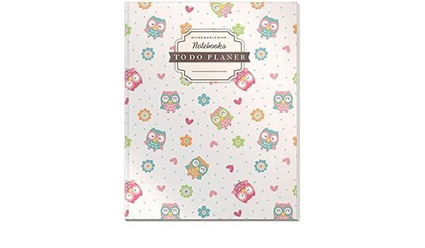 Vintage Softcover 100+ Seiten Dickes Checklisten Buch Register D/ÉKOKIND To Do Planer: DIN A4 Motiv: Lustige Eulen