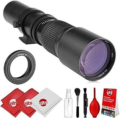 Opteka 500 mm f/8 teleobjetivo preestablecido Manual para cámaras ...