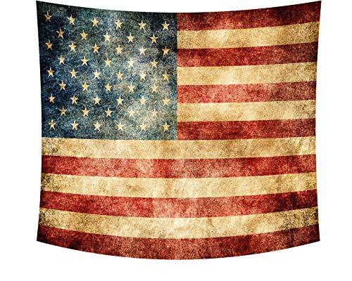 Wamika Vintage American Flag Tapestry Retro Stars and Stripes USA Flag Tapestry Wall Hanging Bule Red Stars Tapestries Wall Art Bedroom Living Room Home Dorm Decor 51