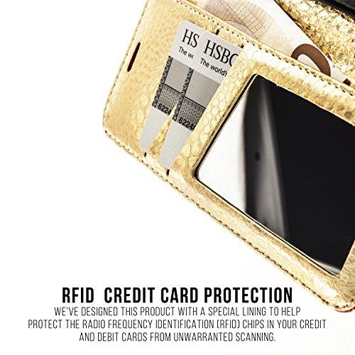 IPHONE 6+ / 6S+ / 7+ PREMIUM Ledertasche, QIOTTI Folio Leder Wallet Case mit [ RFID Schutz Blocking ] [ Standfunktion ] [ Kreditkarten Fächer ] [ Magnetverschluss ] Flip Cover Hülle für BUMBUM RED