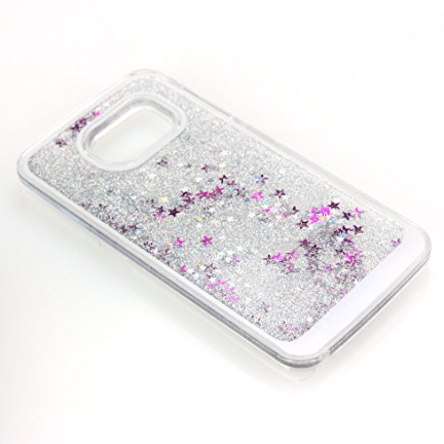 AENMIL Stylish Samsung Note 5 Case, Luxury Design 3D Bling Flowing Colorful Glitter Stars Powder Dynamic Liquid Hard Case Transparent Clear Back Cover for Samsung Galaxy Note 5 (Silver)