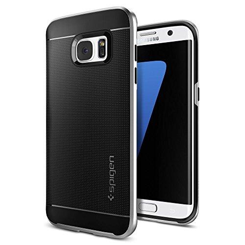 Spigen Schutzhülle für Samsung Galaxy S7 Edge [NEO HYBRID] Schale + Rahmen - metallisierte Tasten - Hülle in satinsilber [Satin Silver - 556CS20144]