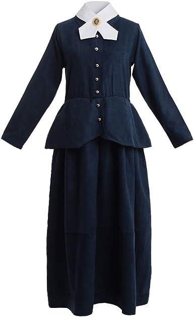 BPURB Women's Susan B Anthony Costume Harriet Tubman Adult Costume Civil War Dress, Navy/White