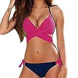 Gocheaper Bikini, Women Solid Push Up Solid Bandage Bikini Set Swimwear Swimsuit Beachwear (XL, Hot Pink)