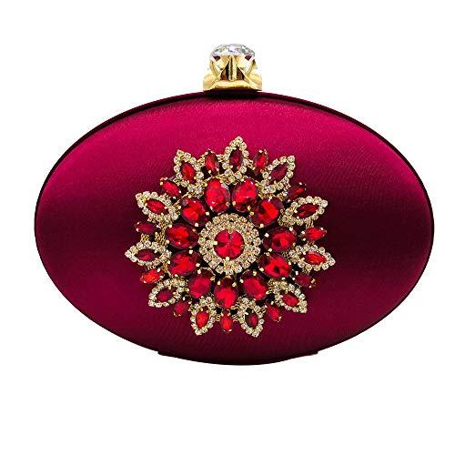 Di Con Diamante Tracolla In Pietre Preziose Per Raso Gscshoe Ovale colore Rosso Forma A Da Pranzo Vino Oro Pochette Borsa vtwnB7q68z