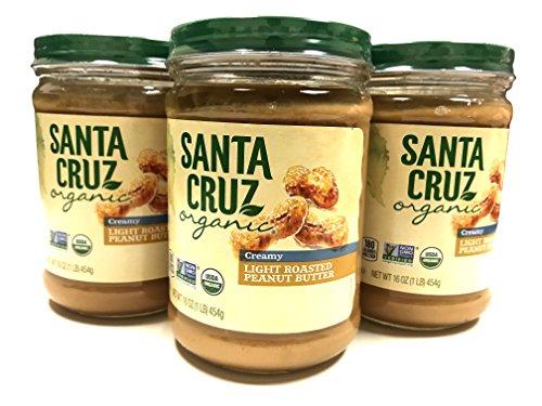 Santa Cruz Organic Peanut Butter Light Roasted Creamy - 16 oz Jar | 3 Pack